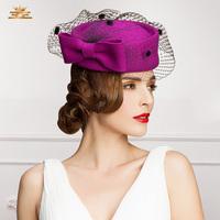 Ee gauze bow woolen hat small fedoras woolen cap billycan high quality Women free shipping