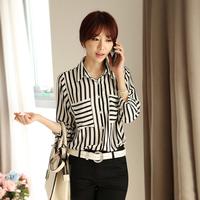 2014 autumn female stripe chiffon three quarter sleeve shirt stand collar elegant slim women's