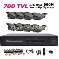 700tvl 960h CCTV System 8ch CCTV DVR Recroder 960h Full D1 recording 700TVL Waterproof IR Camera With IR CUT DVR Kit