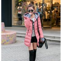 2014 down cotton-padded jacket female medium-long winter outerwear wadded jacket slim women's cotton-padded jacket