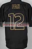 #12 Th Fan Jersey Black,2014 Pro Gold lettering fashion Jersey,Elite Football Jersey,Authentic Sports Shirt,Free Cheap