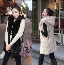 Plush fur vest big yards female imitation rabbit fur hooded vest hooded winter long section vest fur vest winter jacket(China (Mainland))