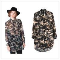 Free Shipping 2014 Europe fashion  Women Print turn down collar  Shirt Long Sleeve Camouflage long Blouse, Camo Cool Top #C1042