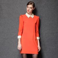 2014 summer and antumn fashion american style women soild personality doll collar work Hitz plus size dress L-4XL