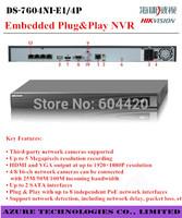 Free DHL/EMS Original Hikvision NVR PoEDS-7604NI-E1/4P DS-7608NI-E2/8P Linux Embedded NVR DS-7616NI-E2/8P VGA HDMI1080P 4CH POE