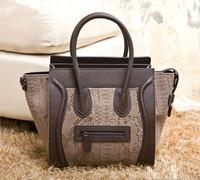 2014New Arrival Fashion Serpentine Pattern Smiley Handbag Cowhide Embossed Bag Genuine Leather Patchwork Shoulder Bags for Women