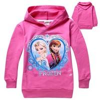 New Girl Kids Frozen Queen Elsa Anna Hooded Long Sleeve Top T-shirt Hoodies3-8Y