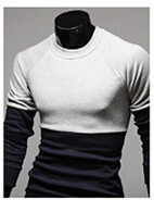 Free shipping autumn wear long-sleeved T-shirt color matching of men's T-shirt  M-XXL