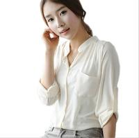2014 Fashion New Women Blouses Ladies Long Sleeve Stand Collar Solid Blusas Femininas Chiffon Shirt Women Pin /White Women Tops