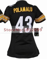 #43 Troy Polamalu Jersey Black,Women's Elite American Football Jersey,Pittsburgh Authentic Sports Jersey,Embroidery Logos,Drop S