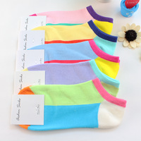 5 pairs of socks female cotton Korea cute hit color socks socks cotton color Invisible Woman short socks