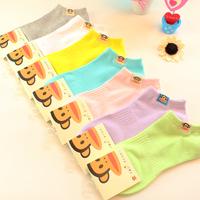 5 pairs of socks mouth monkey cotton socks cotton candy color socks, boat socks cute lady socks wholesale