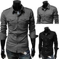 Big Sale! Free Shipping 2014 Mens Slim fit Unique neckline stylish Dress long Sleeve Shirts Mens dress shirts. M-XXL