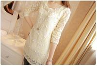 2014 spring and autumn new women chiffon shirt , fashion Slim female Shi Leisi pearl shirt, long section of women shirt
