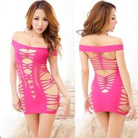 Temptation women's pink sexy sleepwear perspectivity cutout temptation ultra-short slim hip skirt