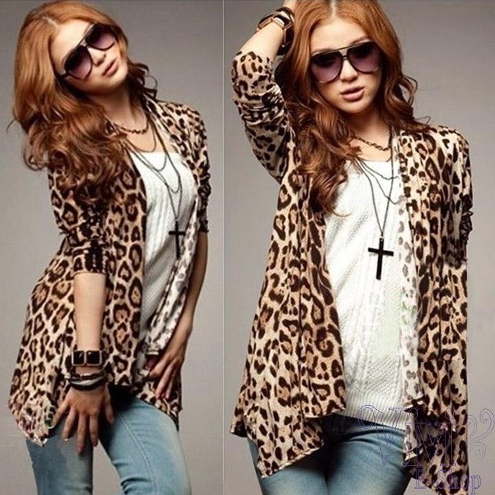 vivi- 2014 novo primavera verão manga longa leopardo cardigan para as mulheres blusa irregular tops plus size outwearer estampa de leopardo(China (Mainland))
