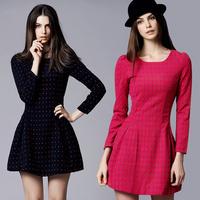 Free shipping 2014 new fashion Long-sleeved woolen dress autumn winter European & American big bottoming Sheath women's dress