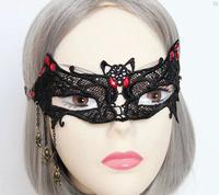 Wholesale Price Sexy Women Lace Mask For Party Catwoman Black Lace Mask Batman Alloy Spider Pendant Masquerade Masks 5 PCS/LOT