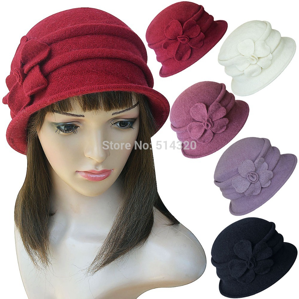A222 Women Ladies 1920s Winter Wool Cap Cloche Crochet Bucket Floral Church Hat(China (Mainland))
