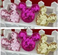 Sequin Felt mouse head patch   Appliques, scapbooking, wedding decoration   6x6.5cm