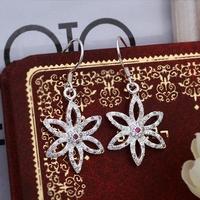 925 Silver Earrings Drop With Zircon For Women Flower Jewelry Wholesale Freeshipping