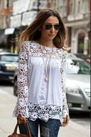 Yellow /White Women Lace Long-sleeve Blouse Plus Size blusas de manga comprida blusa renda Blouse