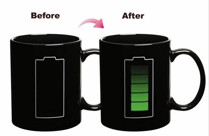 Free Shipping Heat Sensitive Battery Color Changing Mug Magical Chameleon Coffee Cup Temperature Sensing Mug(China (Mainland))