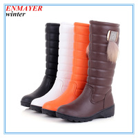 ENMAYER Feathers + PU Mid-Calf Winter Boots Wedges girl boots Round Toe Warm snow boots for women platform winter boots
