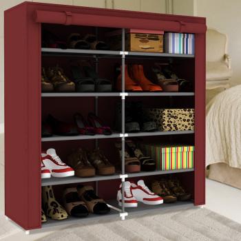Family multifunctional fashion woven shoe shoe cabinet shoe rack double shutter 0505TS red wine(China (Mainland))