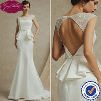 Goingwedding Real Sample Lace Open Back Satin European Fashion Design Mermaid Bridal Wedding Dress Gown Sweep Train FG14911