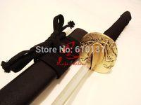"""30"""" clay tempered T-10 blade japanese wakizashi katana sword sparrow tsuba very sharp"""