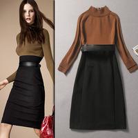 Free shipping Britain's top brand Women's knitting dress sweater new 2014 autumn morality wool Full sleeve dress Khaki color