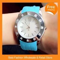 Epacket Free Shipping 5pcs/lot 2014 Casual Watch Jelly Quartz Watch 10color Women Analog Wristwatch Sports Watch Silicone Watch