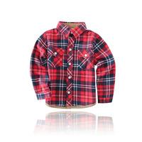 2014 New London Style Autumn Children Designer Shirt  Boys Plaid Grinding plush Cloth Long sleeve Turn-down Collar Kids Blouse