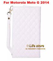 Luxury Leather Case Wallet Book Case Lady Hand Case +Cable earphone Winder For Motorola Moto G (2014) (2nd Gen.)Moto G2 Moto G+1
