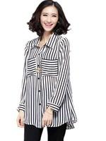 Classic Fashion all-Match Plus Size loose Women Stripes Pocket Decoration Female Long Sleeve Blouse XL-2XL-3XL-4XL