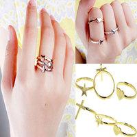 3Pcs/lot 2014 Fashion Gold Rings Set Women Heart/Cross/Star Gold Plated Adjustable Rings Set  HOT Selling