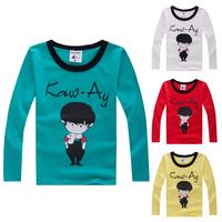 Trend 2014 autumn children's clothing child long-sleeve T-shirt male female child intergards the little boy basic shirt