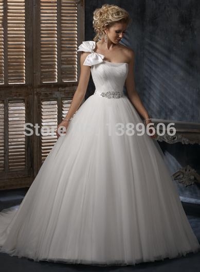 bow wedding dress ball gown crystal on waistband(China (Mainland))