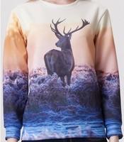 2014 brand new fashion women high-quality hoody Reindeer print 3d sweatshirt casual women sport suit 3d hoodies pullover W00446