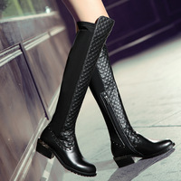 2014 hot sell fashion boots genuine leather strech winter flat foots