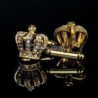 M65 Free Shipping Vintage New Stainless Steel Men's Wedding Gift Golden Crown Cufflinks Cuff Links