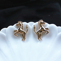Korea style gun black silver gold plated alloy Running Horse Stud Earrings 4pairs/lot