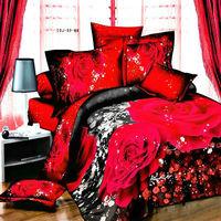 3d red Rose bedding set 4pcs comforter/duvet/quilt cover bedsheet pillowcase bed sets bedcover queen size Fast shipping