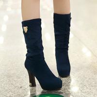 Autumn and winter women's shoes boots velvet thick heel platform medium-leg high-heeled boots boots