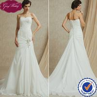Goingwedding Fitted A-line Sweetheart Lace Top Chiffon Skirt Beautiful Train Bridal Wedding Dress FG14913