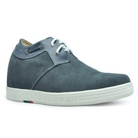 Gray suede Height elevating shoes fashion increasing sneakers for men get taller 7cm / 2.75inches casual shoe
