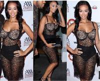 Women's Sexy Club Dress 2014 Black Celebrity Draya Michele Lace Bodycon Dress Sexy Night Party Dress Vestidos Strap Bandage 026