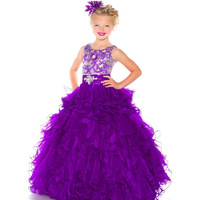 2014 High Quality Beaded Straps Ruched Waist Tulle Sugar Little Girl Pageant Dress Custom Made