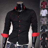 2014  Mens Fashion Cotton Designer Cross Line Slim Fit Dress man Shirts Tops Western Casual New S M L XL